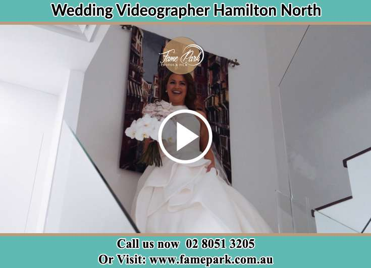 The Bride walking downstairs Hamilton North NSW 2292