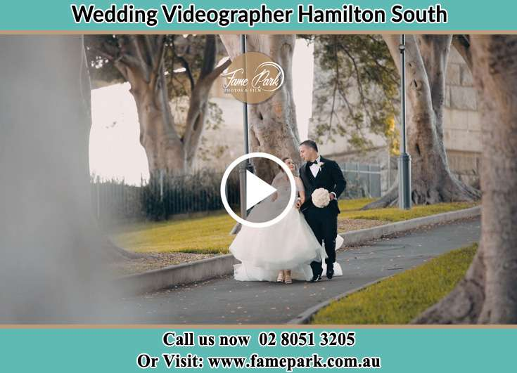 The newly weds walking at the yard Hamilton South NSW 2303