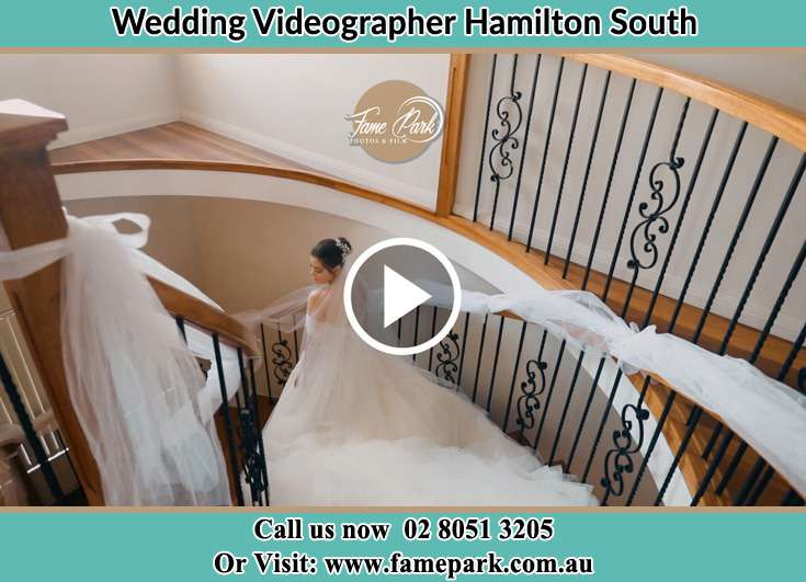 The Bride walking downstairs Hamilton South NSW 2303