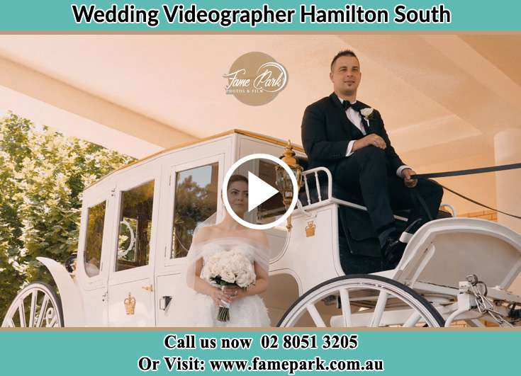 The Bride outside the wedding carriage Hamilton South NSW 2303